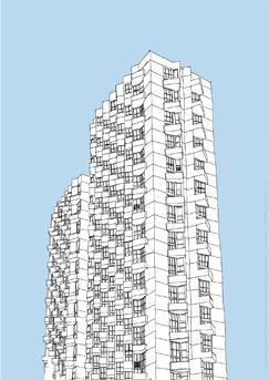 N° 5 : 20e TOUR SUD de Antoine Ronco, 2009. Cette édition représente l'Eperon, immeuble du quartier Colombier à Rennes. C'est un fragment dessiné du travail d'observation mené par Antoine Ronco au 20e étage de la tour sud de l'Eperon.PHAKT - Centre Culturel Colombier - RENNES (35)