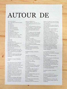 Affiche N°3 : AUTOUR DE de Alain Michard. Edition réalisée dans le cadre de la résidence d'Alain Michard au PHAKT - Centre Culturel Colombier (2008-2010).