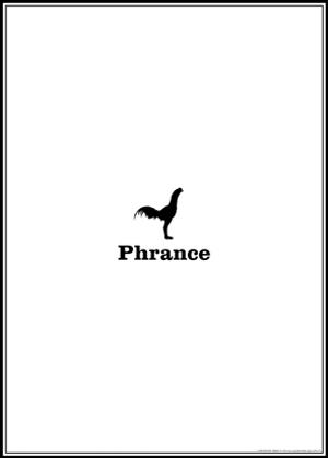 Affiche N°1 : PHRANCE de Gaël Grivet, en 2008. Un drôle de volatile mi-coq, mi-dinosaure, un mot inconnu dont la prononciation demeure familière, une symbolique des couleurs revisitée. PHAKT - Centre Culturel Colombier - RENNES (35)