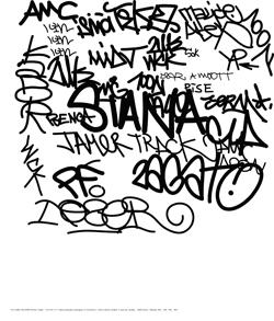N°7 : TAG CLOUDS WALLPAPER de Mathieu Tremblin, 2010. En solo ou en duo sous le pseudonyme des Frères Ripoulain, les artistes David Renault et Mathieu Tremblin oeuvrent dans les espaces en jachère de la ville et développent des protocoles d'action urbaine autour des notions de contre-façon, d'abandon et de dégradation, d'expression autonome et spontanée, de langage cryptique et de désobéissance civile.