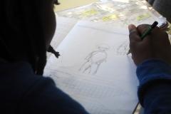 Atelier avec les 6e lors de la résidence d'artiste PRO/ACTIF de Thomas Tudoux au collège Les Chalais (Rennes)